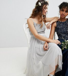 Read more about Maya cami strap sequin top tulle detail midi bridesmaid dress - micro chip