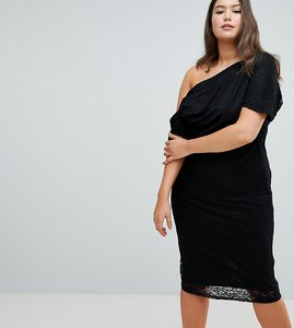 Read more about Asos design curve pleated shoulder lace midi dress - black