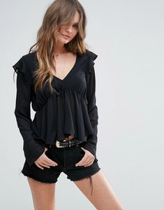 Read more about Asos blouse with frill detail - black