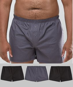 Read more about Asos plus woven boxer in monochrome 3 pack - monochrome