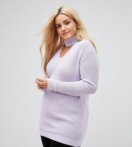 Read more about Alice you relaxed jumper with cut out high neck - grey lilac