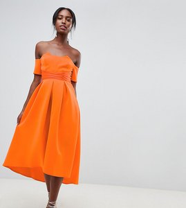 Read more about Asos design tall bardot pleated waist scuba midi prom dress - orange