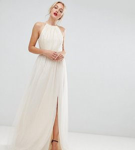 Read more about Little mistress tall sequin high neck maxi dress in cream - cream