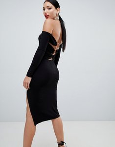 Read more about Asos design bardot strappy back bodycon midi dress - black