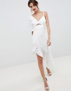 Read more about Asos design scuba mix broderie lace midi dress - ivory