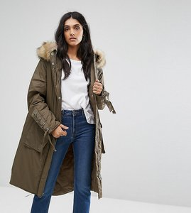 Read more about Asos tall parka with lace up dip hem - khaki