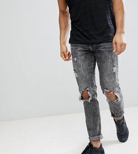 Read more about Brooklyn supply co acid wash slim jeans with rip and repair - black