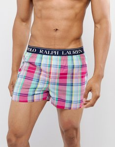 Read more about Polo ralph lauren slim fit woven boxers logo waistband in pink madras check - savannah plaid