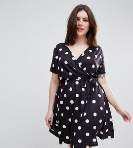 Read more about Pink clove wrap dress in spot - black spot