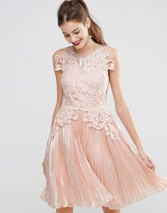 Read more about Asos salon metallic lace applique midi skater dress - pink