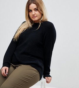 Read more about Asos design curve jumper in fluffy yarn with crew neck - black