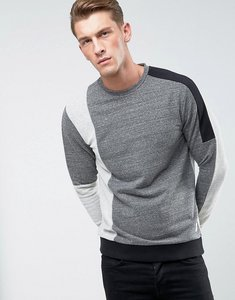 Read more about Only sons sweatshirt with mixed cut and sew detail - light grey