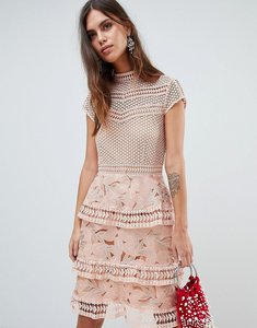 Read more about Y a s dress with tiered lace detailed skirt - pink