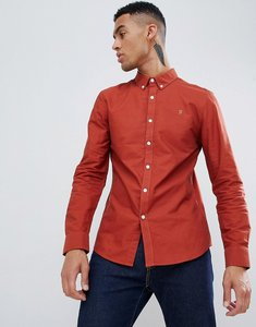 Read more about Farah brewer slim fit oxford shirt in red - red