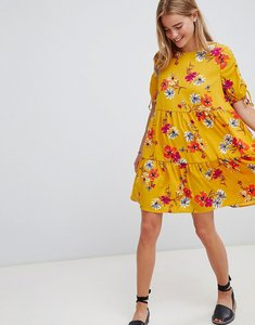Read more about Qed london floral print shift dress - mustard