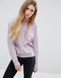 Read more about Asos jumper in fluffy yarn with crew neck - lilac
