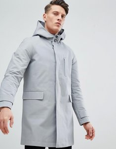 Read more about Asos hooded trench coat with shower resistance in grey - grey