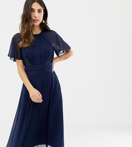 Read more about Asos design pleated panelled flutter sleeve midi dress with lace inserts