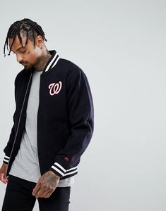 Read more about New era melton wool bomber jacket with washington nationals back patch - navy