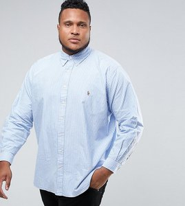 Read more about Polo ralph lauren plus oxford shirt in light blue stripe - powder blue white