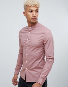 5ef4451205b Read more about Asos design skinny shirt in dusty pink with grandad collar  - pink