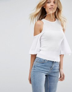 Read more about Asos jumper with mesh cold shoulder - white