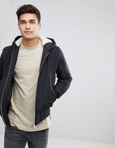 Read more about Asos borg lined hooded bomber jacket with ma1 pocket in black - black