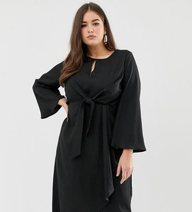 Read more about Missguided plus tie front midi dress in black