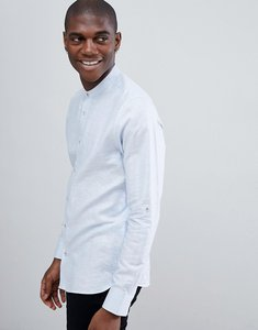 Read more about Ted baker long sleeve grandad shirt in blue linen - light blue