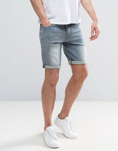 Read more about Asos denim shorts in skinny with abrasions grey - mid grey