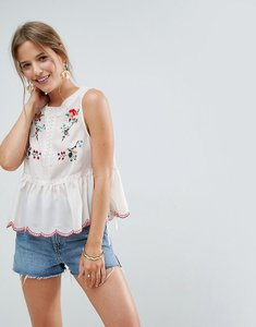 Read more about Asos sleeveless blouse with lace trim and embroidery - ivory