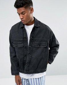 Read more about Zeffer trucker style denim jacket in washed black - black