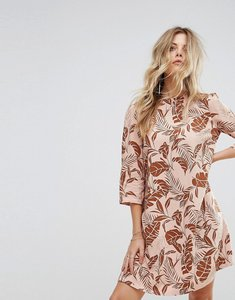 Read more about Y a s long sleeved shift dress in palm print - mahogany rose