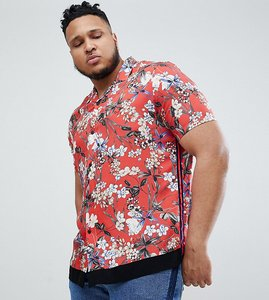 Read more about Asos design plus regular fit floral shirt with velvet tape detail in red - red