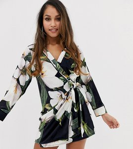 Read more about Asos design petite bamboo print velvet mini wrap dress