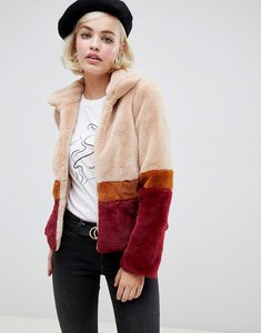 Read more about Glamorous jacket with contrast stripes in faux fur - burgundy stripe