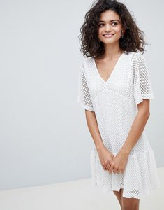 Read more about Mango drop hem dress in white - white