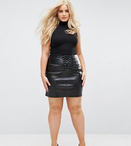Read more about Naanaa plus bodycon mini skirt in pu with lace up detail - black
