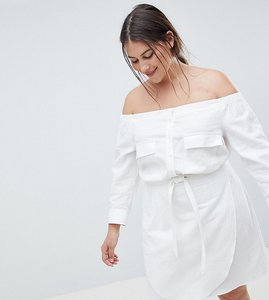 Read more about Asos design curve off shoulder linen mini dress with belt detail - white