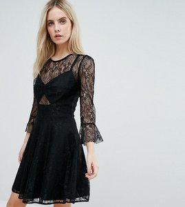 Read more about John zack petite lace top prom skater dress with bra top detail - black