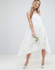 Read more about Asos edition 3d flower midi trapeze wedding dress - white