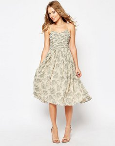 Read more about Asos design bridesmaid ruched midi dress in print - print