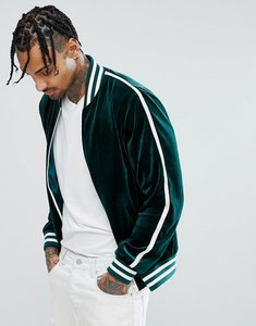 Read more about Asos velvet bomber jacket with sleeve stripe in green - green