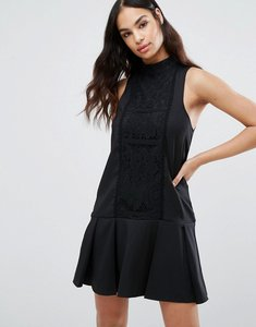 Read more about Missguided lace panel drop hem dress - black