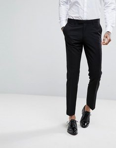 Read more about Moss london skinny tuxedo suit trousers - black