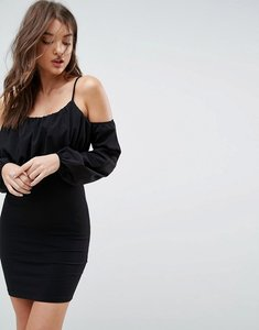 Read more about Asos balloon sleeve square neck mini dress - black
