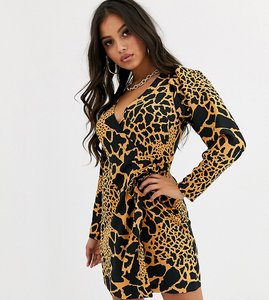 Read more about Asos design petite wrap mini dress with extreme sleeves in animal print