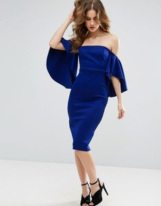 Read more about Asos dramatic sleeve scuba midi dress - cobalt