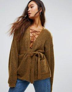 Read more about Gestuz oba mohair wool mix short belted cardigan - bronze brown melanag