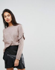 Read more about Morgan ruffle sleeve jumper - nude